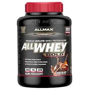 【ALLMAX Nutrition】オールホエイ・ゴールド、100%ホエイプロテイン + プレミアム・ホエイプロテインアイソレート